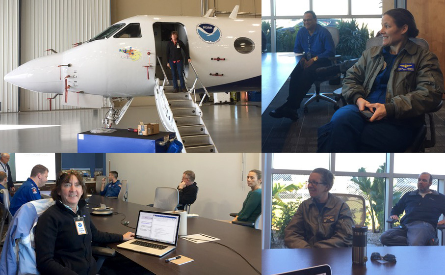 Haase and members of NOAA's hurricane hunter team during the preflight weather briefing on January 23, 2018